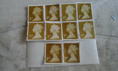 100 x  1st class gold security stamps unfranked with gum OFF paper