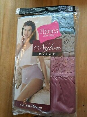 3 Pair Hanes Her Way nylon brief Granny Panty New in Package Size 8 1990s Lot 7