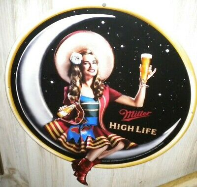 "Miller High Life Beer Girl on Moon Tin Sign 19"" high x 16"" wide"
