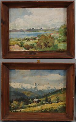 Pair 1940 Antique OSWALD HARTIG Danish Impressionist Landscape Oil Painting, NR