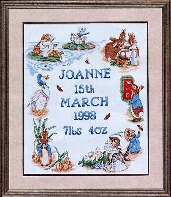 Beatrix Potter Birth Sampler cross stitch chart a