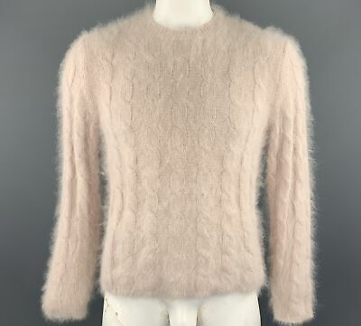 GUCCI by TOM FORD Size L Rose Cable Knit Angora / Nylon Crew-Neck Pullover
