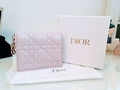 Authentic Lady Dior Compact Wallet Lilac Lambskin