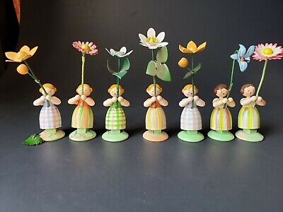 Lot of 7 Vintage East German Hand Carved Wooden Flower Girls