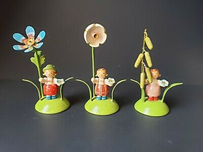 Lot of 3 Vintage East German Hand Carved Wooden Flower Girls