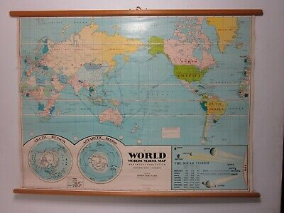 Vintage World canvas wall hanging school map Chas H Scally & Co