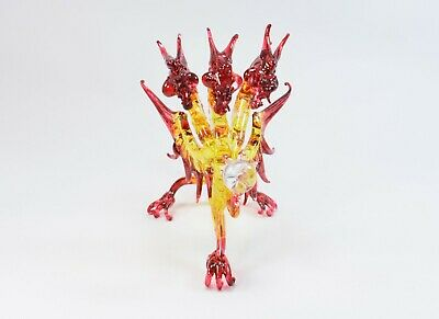 Triple Head Dragon Red and Yellow Figurine of Blown Glass Crystal