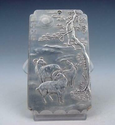Tibetan Silver Paperweight 3 Lovely Legendary Goats Carved /T 02