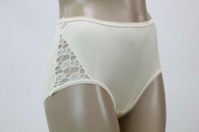 Vintage granny panties Brief yellow nylon white lace panty Small