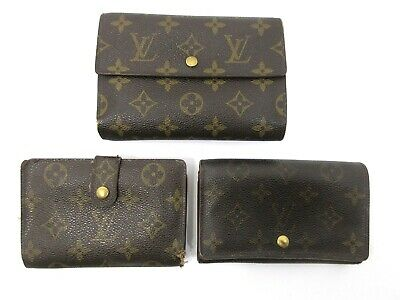 Authentic 3 Item Set LOUIS VUITTON Monogram Wallet PVC Leather 83823