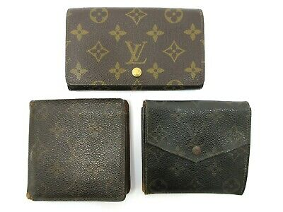 Authentic 3 Item Set LOUIS VUITTON Monogram Wallet PVC Leather 82704