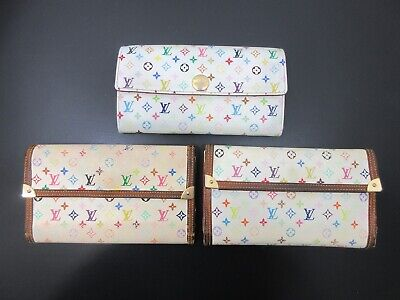 Auth 2 Item Set LOUIS VUITTON Monogram Multi Color Long Wallet PVC Leather 83821
