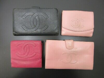 Authentic 4 Item Set CHANEL Caviar Skin Wallet Leather Black Pink 82701