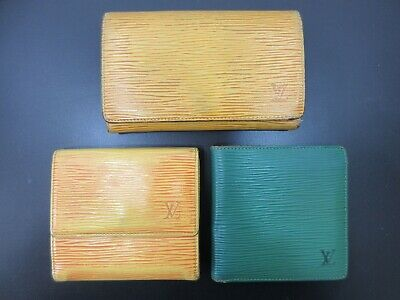 Authentic 3 Item Set LOUIS VUITTON Epi Wallet Leather 82712