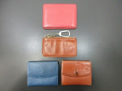 Authentic 4 Item Set LOUIS VUITTON Epi Coin Purse Pass Case Leather 82714