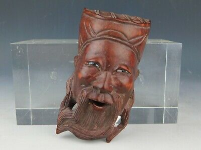 Oriental Wood Carved Chinese Man Head Bust Figure with Glass Eyes