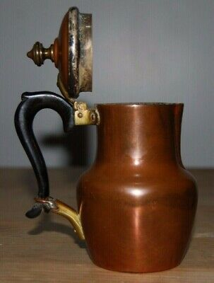Small French copper and silver jug wooden handle milk jug