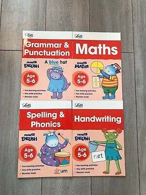 Letts KS1 Age 5-6 Maths English Educational Workbooks Home Learning Fun 4 Books