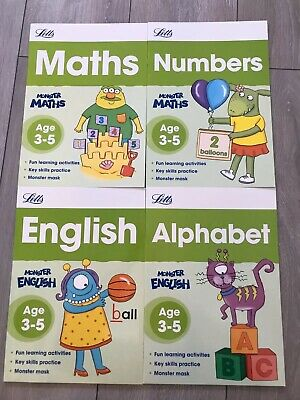Letts KS1 Age 3-5 Maths English Educational Workbooks Home Learning Fun 4 Books
