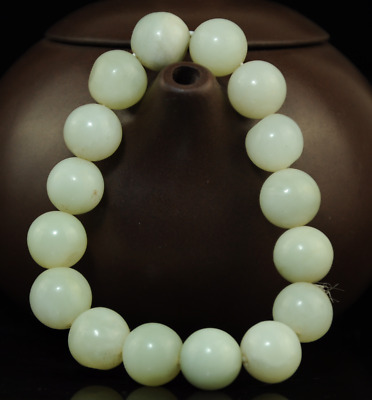 Pure Natural Handwork white jade Bead Stretch Buddha beads jade Bracelet /07A