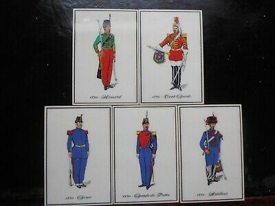 Set of 5 French 19th Century Military Uniformed Officers on Plastic Tiles