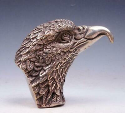 Vintage Silver Plated Copper Crafted Furious Eagle Head Sculpture /Tb02