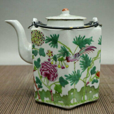 Chinese old Porcelain Hand painted flower bird Hexagon hand carry Teapot /We02