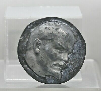 Antique Russian Pewter Medallion Of Vladimir Lenin Signed Circa 1920s