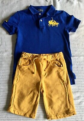 Boys Ralph Lauren Blue Polo Shirt And Yellow Shorts Age 7-8 Years