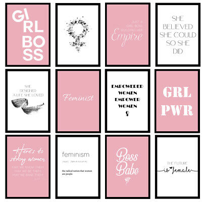 Feminist Female Fashion Woman Girls Bedroom Quote Art Prints Wall Art Posters