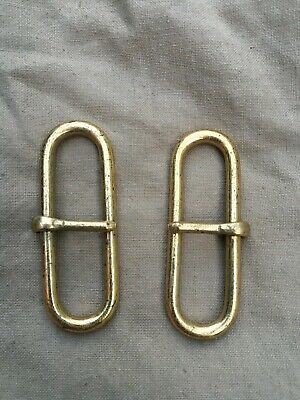 Excellent British Army White Buff / Leather Belt Brass Hook Sliders - 4.5cm