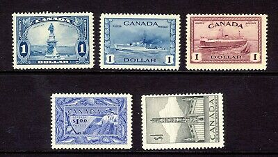 5x Canada MH $1.00 stamps #227-262-273-302-321 3xVF 2xF/VF Cat. Value = $275.00