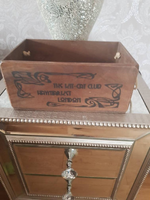 Solid wooden storage box with handles - THE KIT CAT club haymarket london