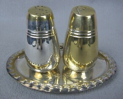 Vintage Silver Plated Cruet Set with Tray / Holder: Salt & Pepper Shakers.