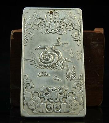 China old hand-made copper-plating silver Chinese Zodiac  The snake waist tag