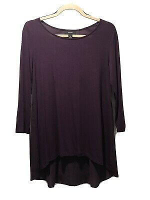 Alfani Womens Purple Sheer In Lower Back Mixed Media Casual Pullover Top Sz S