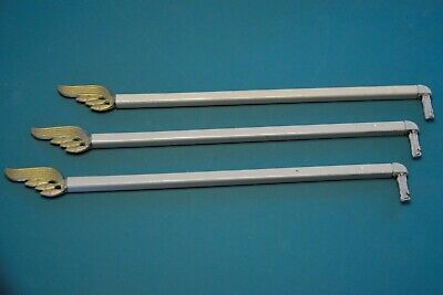 3 Vintage SWING ARM ADJUSTABLE LENGTH METAL CURTAIN RODS Decorative