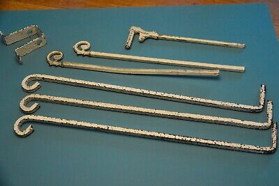 Vintage Metal Swing Arm Drapery Curtain Rods, Mixed Lot