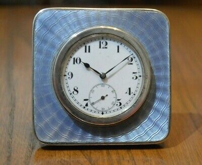 Swiss made Art Deco Guilloche Enamel desk clock, silver capping and surround