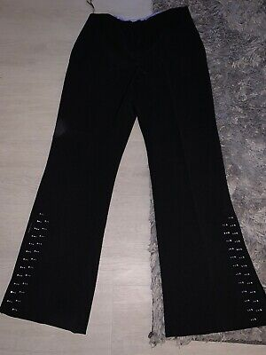 Ladies Black Size 8 Dorothy Perkins Trousers With Bead Detailing To Bottom