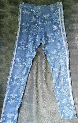 Girls Adidas Originals Trefoil Wedgewood China Print Leggings Age 11-12 Y Blue