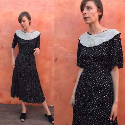 Vintage 1930s 1940s style dress Black white romantic belted fit flare day Small