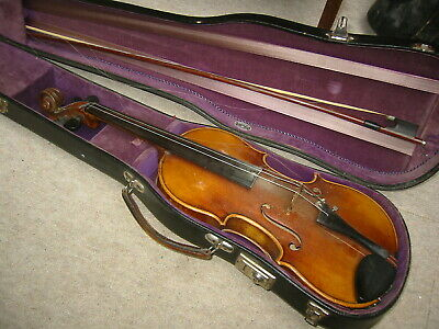 Nice old German Stradivarius Violin w. cracks at the front. nicely flamed back