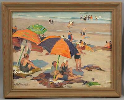 Antique MABEL WOODWARD Ogunquit Maine Beach Umbrellas Impressionist Oil Painting
