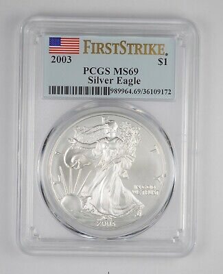 MS69 2003 American Silver Eagle - First Strike - Graded PCGS *098