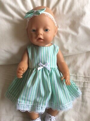 "Doll Clothes to fit 17"" Baby Born doll ~ Dress & hband  ~ Mint Stripes"