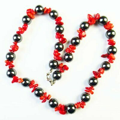 """Black Hematite Round Ball & Red Coral Pendant Bead Necklace 17.5""""N12590"""