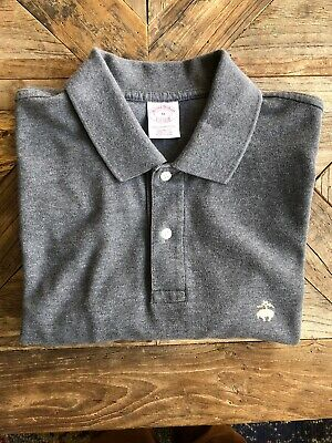 BROOKS BROTHERS SHORT SLEEVE Grey Polo Shirt MENS Medium