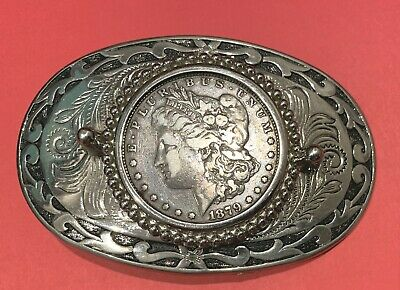 Belt buckle with 1879 Morgan Silver Dollar