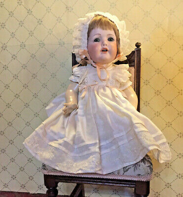 Porcelain Baby Doll with Cream Dress and Bonnett 46cm